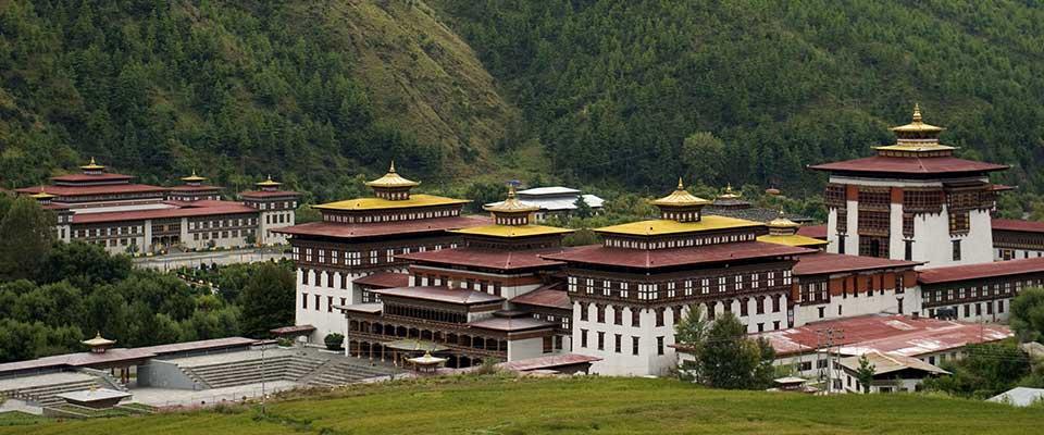 Temple view. Bhutan, Asia