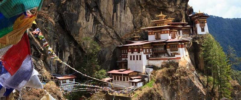 Cliff side homes. Bhutan, Asia