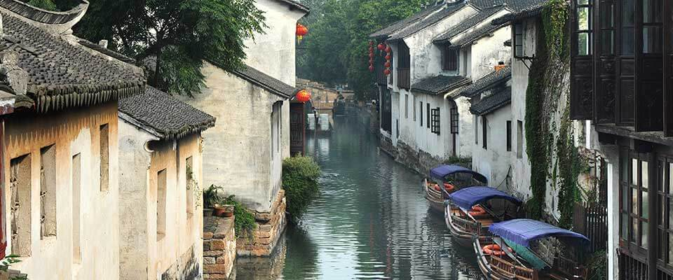 Town on the water. China, Asia.