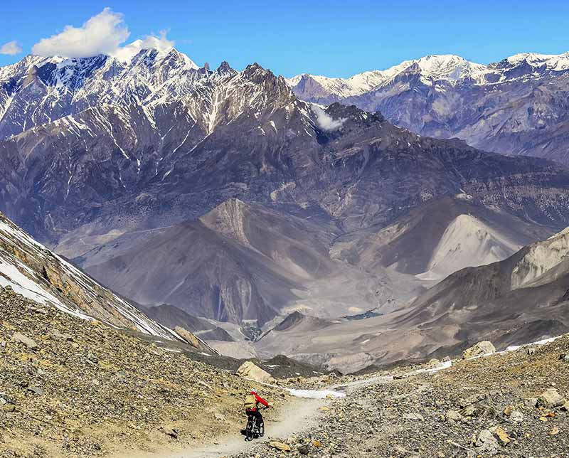 Biking in the mountains. Nepal, Asia.