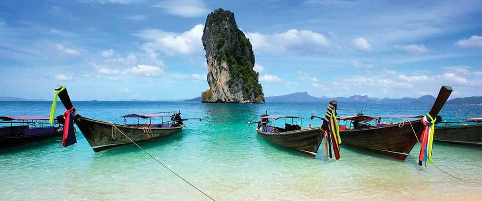 Boats on the beach. Thailand, Asia.