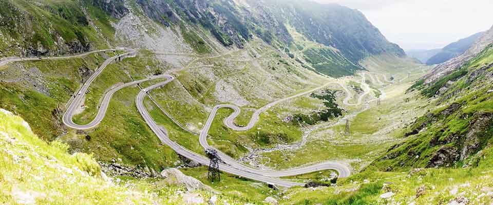 Winding roads. Romania.