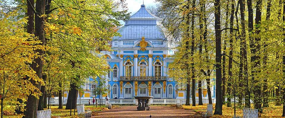 Beautiful house in a park in fall. Russia.