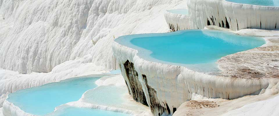 Pristine pool of water with ice. Turkey.