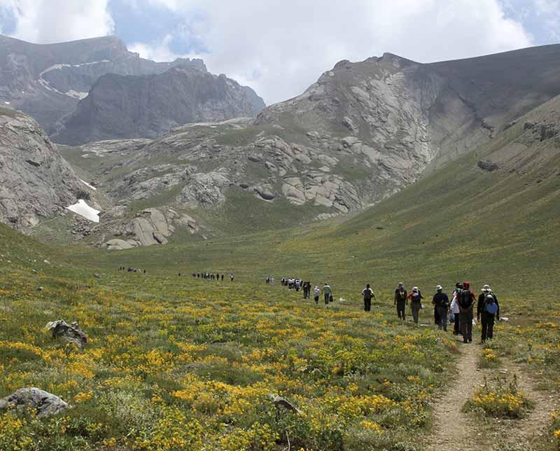 Groups of people trekking. Turkey.
