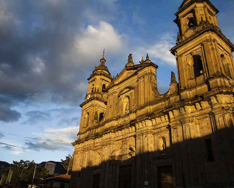 Castle in the setting sun. Colombia highlights. Colombia.