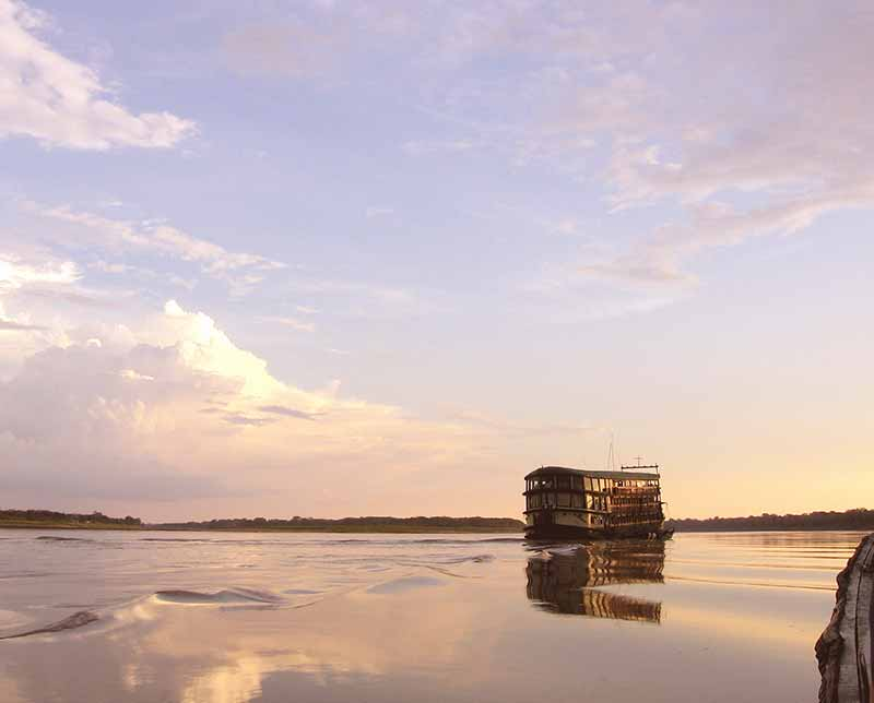 Amazon riverboat adventure. Peru, South America.
