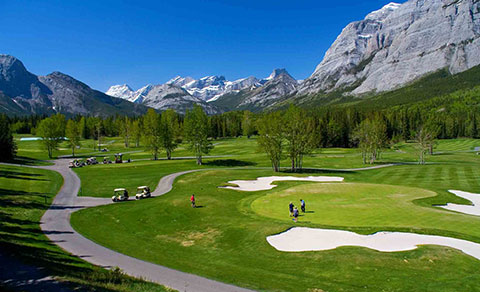 Golf course with mountains. Alberta, Canada