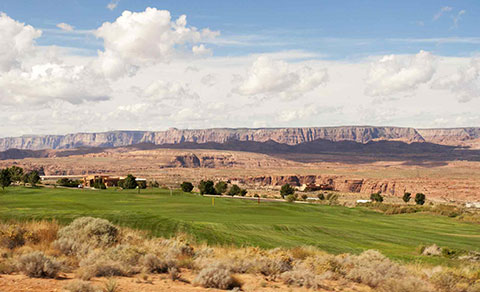 Golf course surrounded by desert. Arizona, USA.