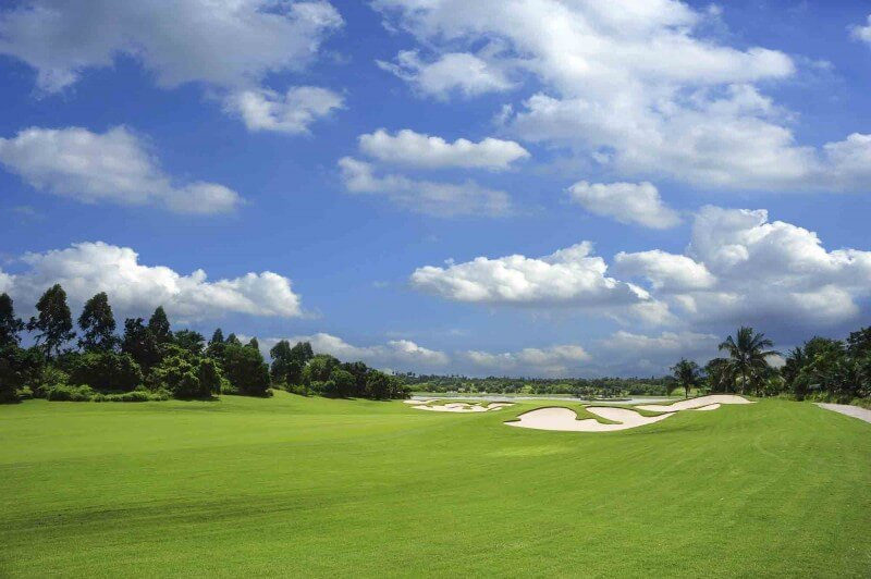Beautiful panoramic view of a golf course.