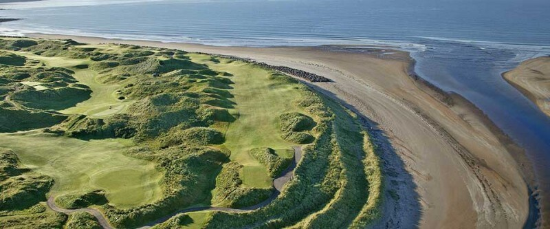 Golf course next to a sandy coast. Southwest, Ireland.