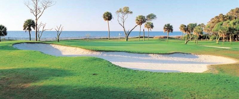 Golf course with a sand trap. Hilton Head, South Carolina.