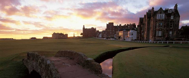Golf course with a creek and bridge. Edinburgh and St Andrews, Scotland.