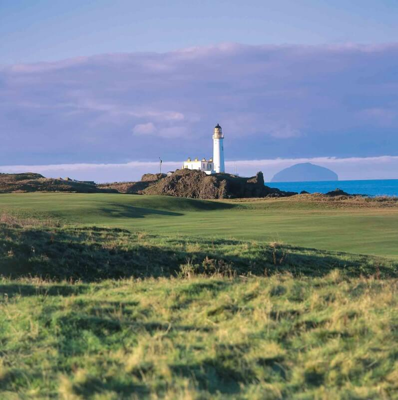 Golf course next to a lighthouse. Glasgow and Ayrshire, Scotland.