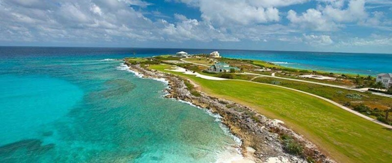 Beautiful panoramic view of a golf green and the ocean. The Bahamas.
