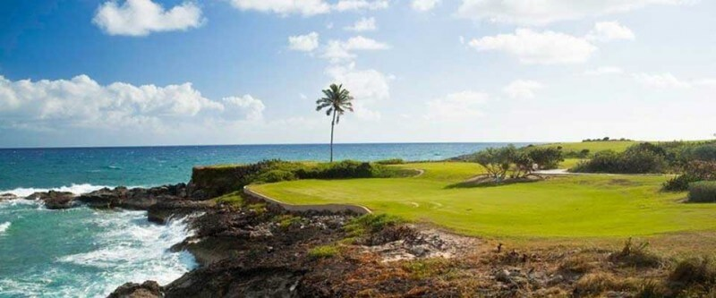 Golf course on the rocks. The Bahamas.