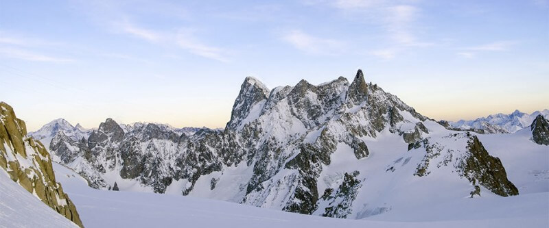 Jagged mountain view with lots of snow. Chamonix, France.