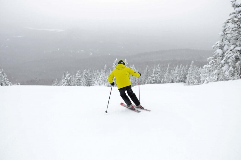 Skiing on a cloudy day. Quebec.