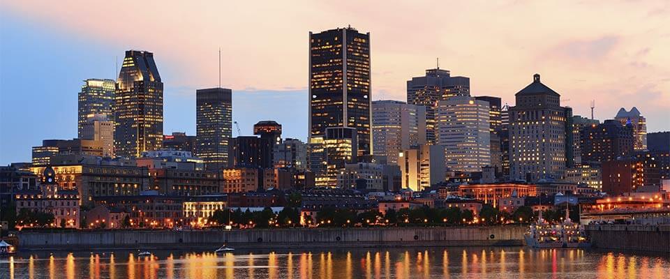 Montreal skyline. Bromont, Quebec.