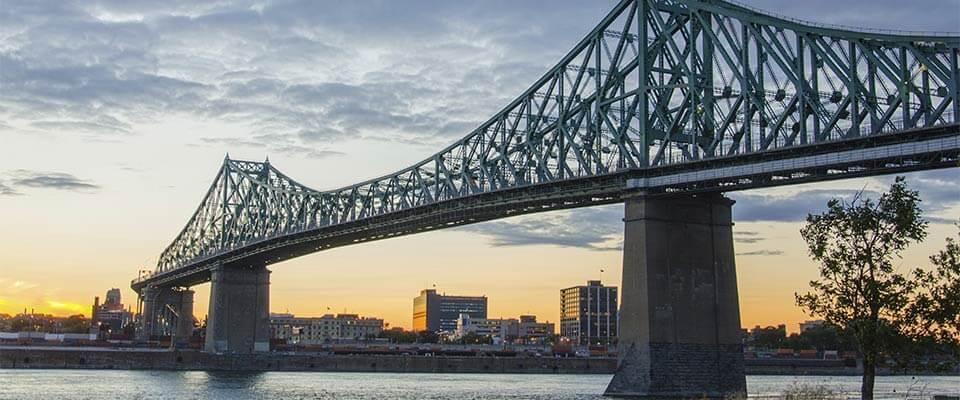 Bridge to the island of Montreal. Bromont, Quebec.