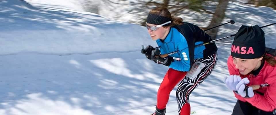 Kids skiing. Mont Sainte Anne, Quebec.