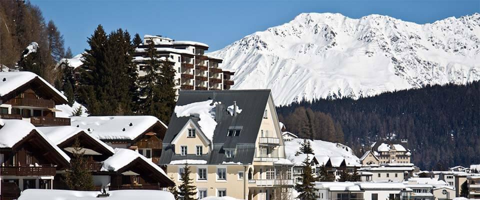 Ski village with mountain views. Davos, Switzerland.