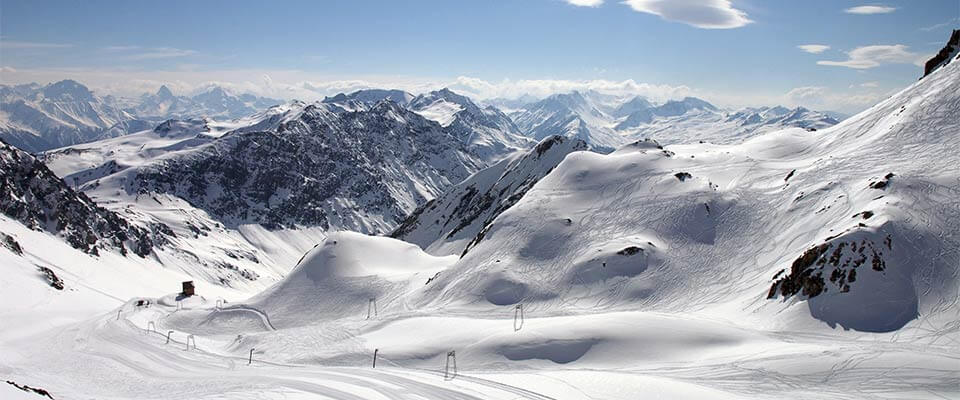 Rocky mountains with snow. Davos, Switzerland.