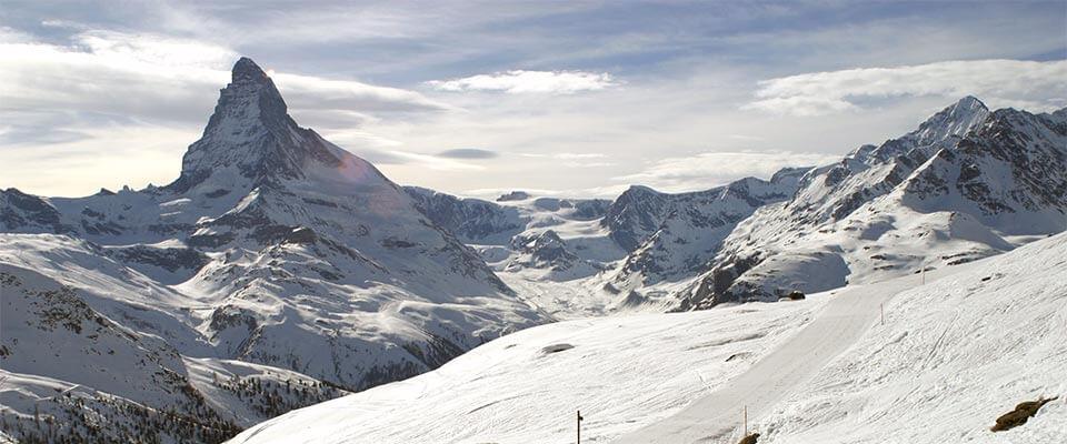 Rocky mountains with snow. Zermatt, Switzerland.