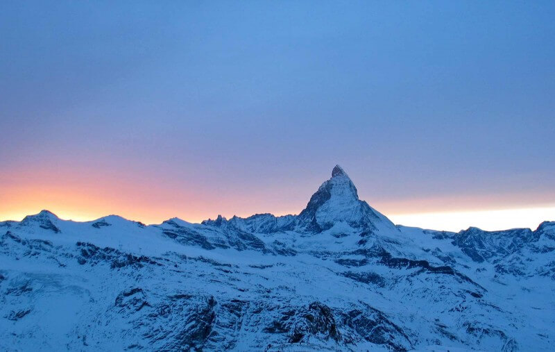 Rocky mountains at sunset. Zermatt, Switzerland.