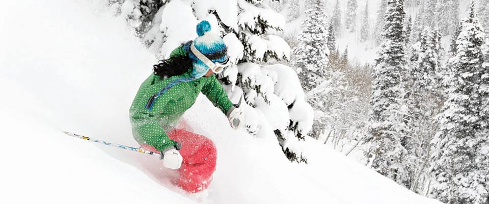 Skiing in fresh powder snow. Park City, Utah.