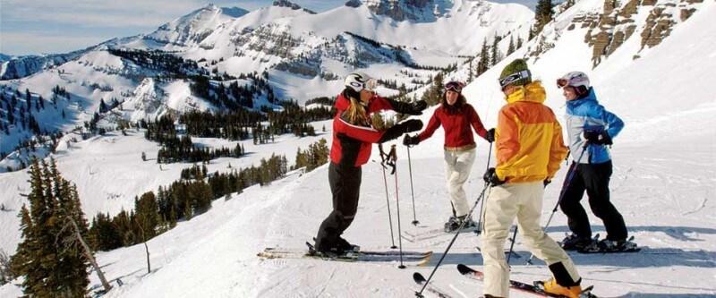 Jackson Hole skiiers about to ski, Wyoming.