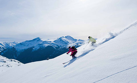 A couple of skiiers in soft powder. BC.