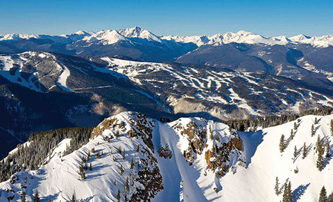 Snowy mountain view from above. Colorado.