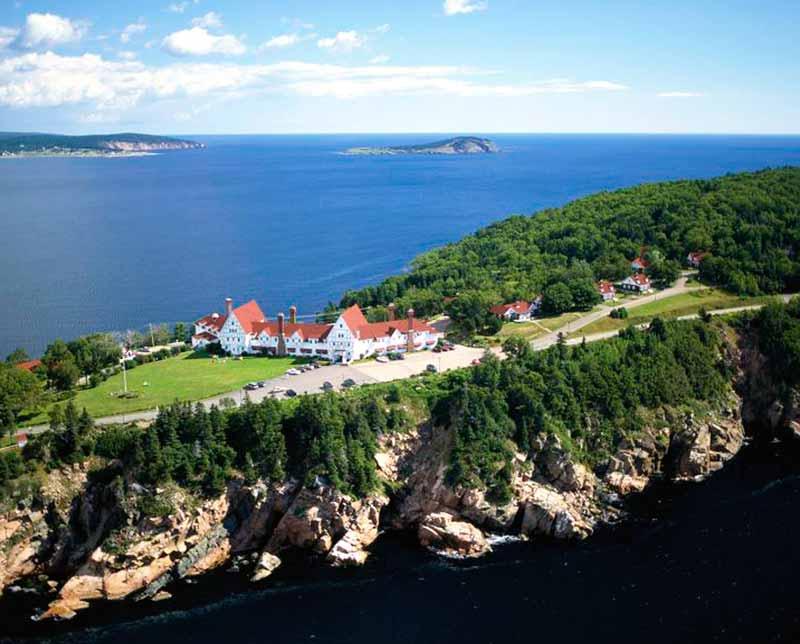 Birds eye view. Town across the water. Nova Scotia.