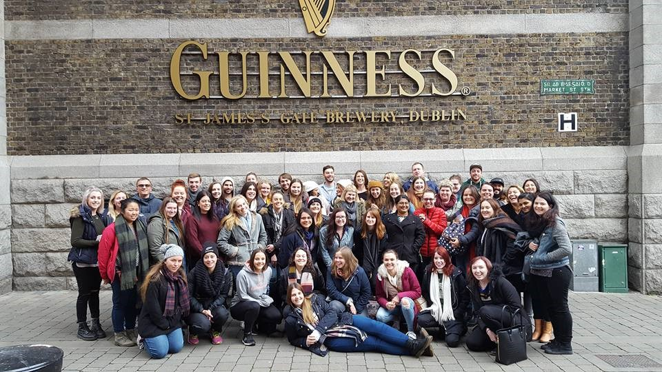 Group photo in front of the Guinness Factory in Ireland