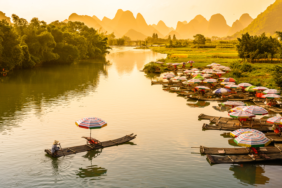 The Li River in Yangshuo, in Guilin Province, China