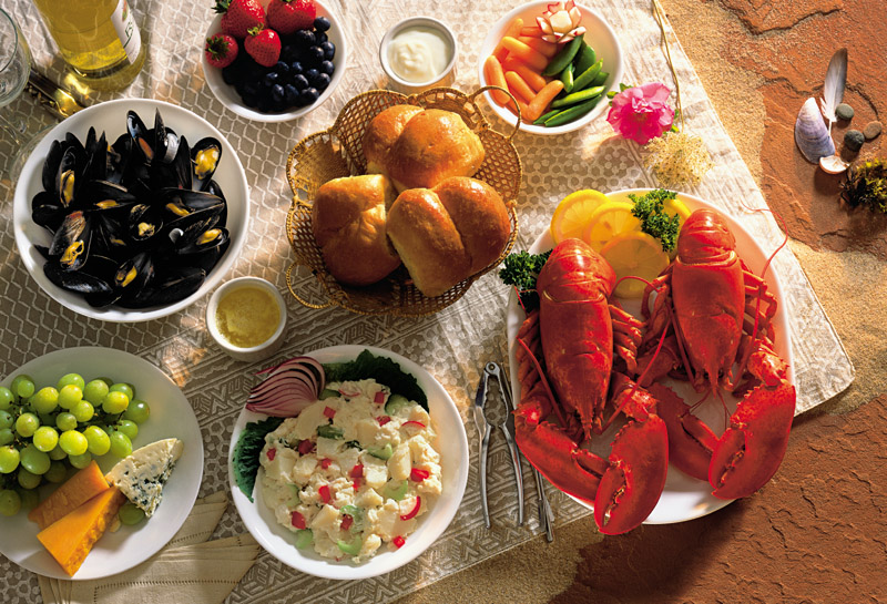 A typical PEI lobster and seafood dinner