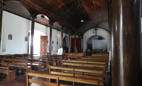 Inside San Juan Bautista Church, shaped like an upside down boat – Nahuizalco