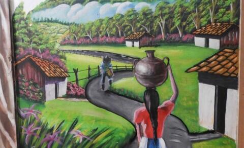 Mural of coffee farmer - Café Entre Nubes