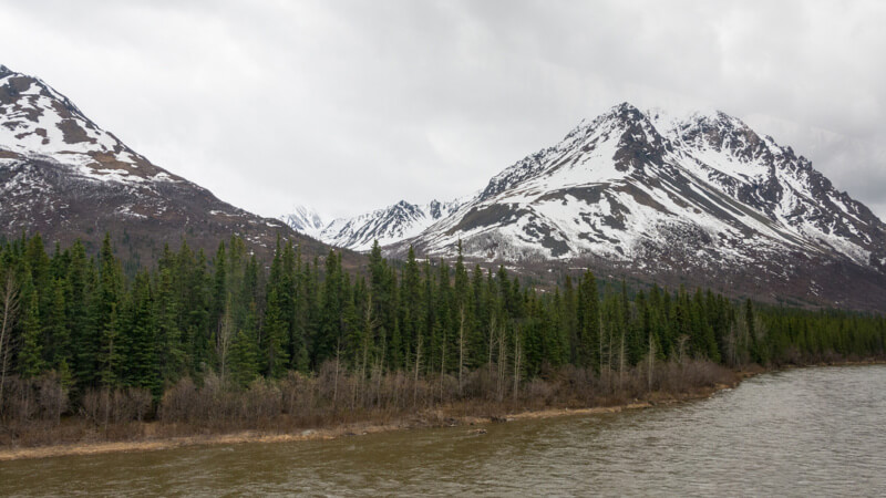 Denali Mountain Vista as seen from the railcar on the Wilderness Express, Alaska