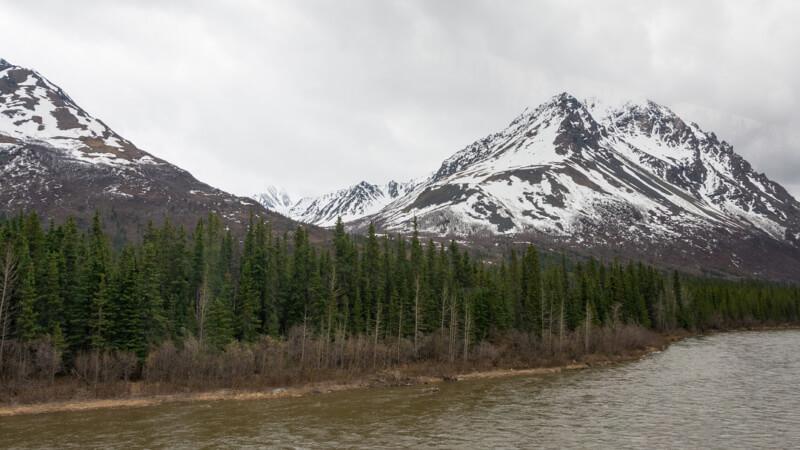 Denali Mountain Vista as seen from the railcar on the Wilderness Express, Alaska