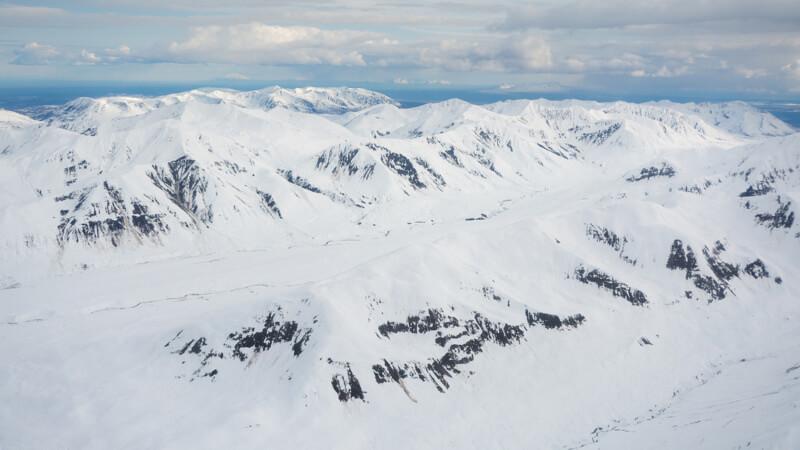 Glacier Ice Fields in Talkeetna Mountains, Alaska