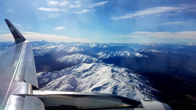 A New Zealand landscape from the air, near Queenstown. Vacation