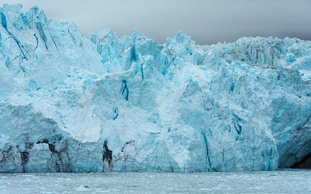 Close up of Margerie Glacier in Glacier Bay National Park. Alaska. Cruise