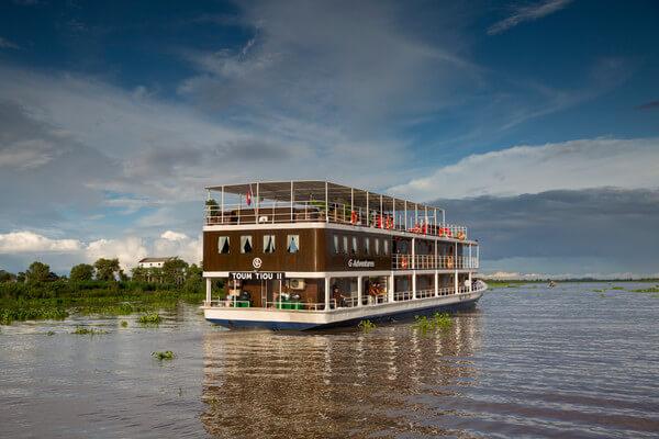 Kampong Chhang Mekong Riverboat Toum Toui ll in Cambodia. Courtesy G Adventures