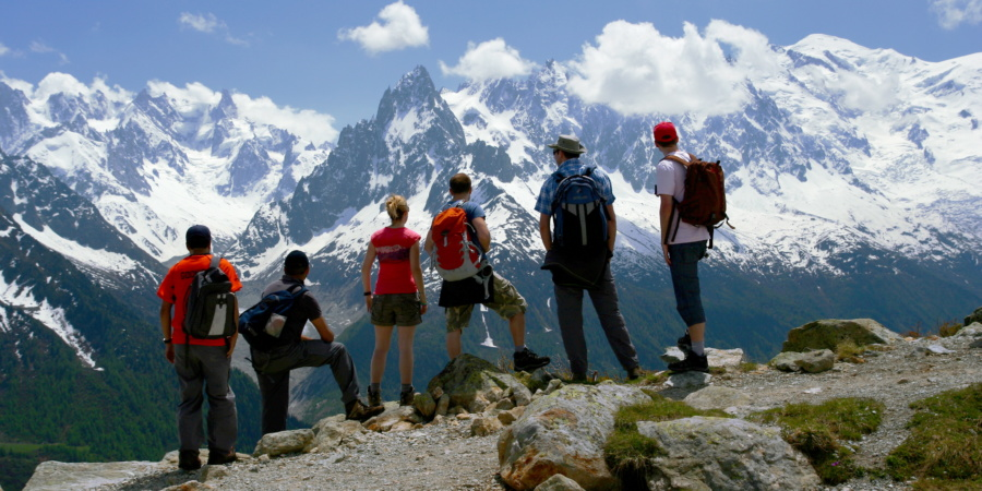 Group admiring views of Mont Blanc. Courtesy Exodus Travels
