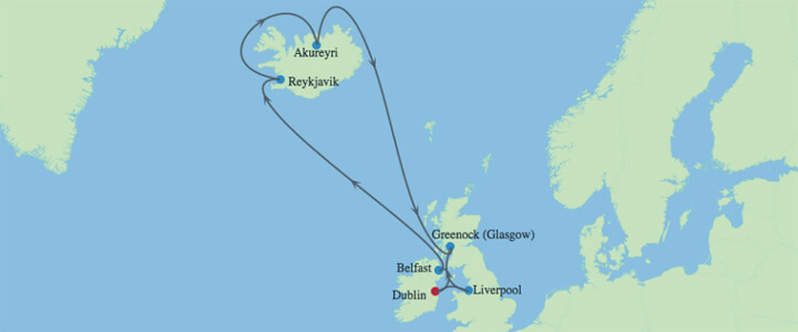 Iceland Irish Sea Cruise - Map