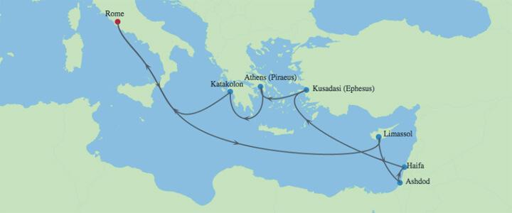Israel-Mediterranean-Cruise-Map