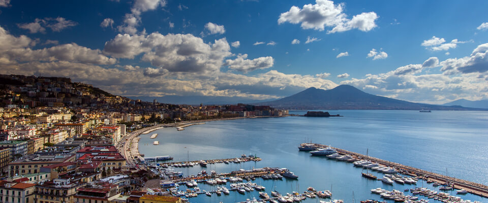 Panoramic view of the gulf of Naples with mount Vesuvius