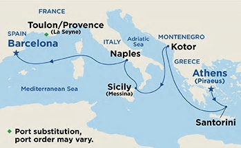 Mediterranean Barcelona to Athens Cruise - Map